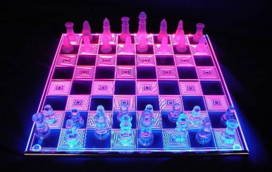 This Unique Acrylic Chess Set Lights Up with Colors