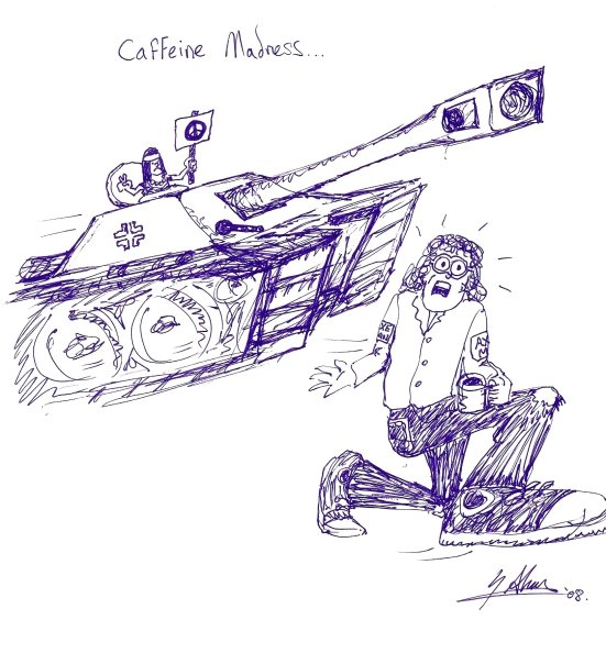 Caffeine madness, dragan chased by hippies in tank
