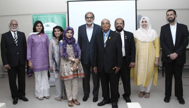 Project Lead Rotarian Nisar Ahmed Sheikh (4th L), Rotarian Owais Kohari (1st R) with TCF team, Mr. Ateed Riaz, Chairman & Founding Director (C), Riaz Kamlani, VP (1st L), Unaiza Ayub, Head of Education(2nd L), Afrah Qureshi, Head of Training (4th R), Amna Khalid, Executive Advisor – Grants and Sadaf Rehman, Head of Grants (2nd & 3rd L) shared the success of their e-Learning pilot project that has helped TCF conduct teachers training remotely and with greater efficiency. Project funded by Rotary Club.