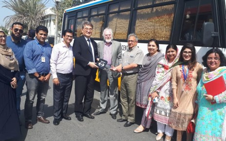 "Japanese Government hands over a ""Modern Transport Vehicle for Karachi Vocational Training Centre(KVTC), Consulate General of Japan in Karachi Mr. Toshikazu Isumora Presnting Donate Bus to Dr. Akhtar Aziz Khan, President of KVTC, and Senator Abdul Haseeb Khan, CEO of KVTC."