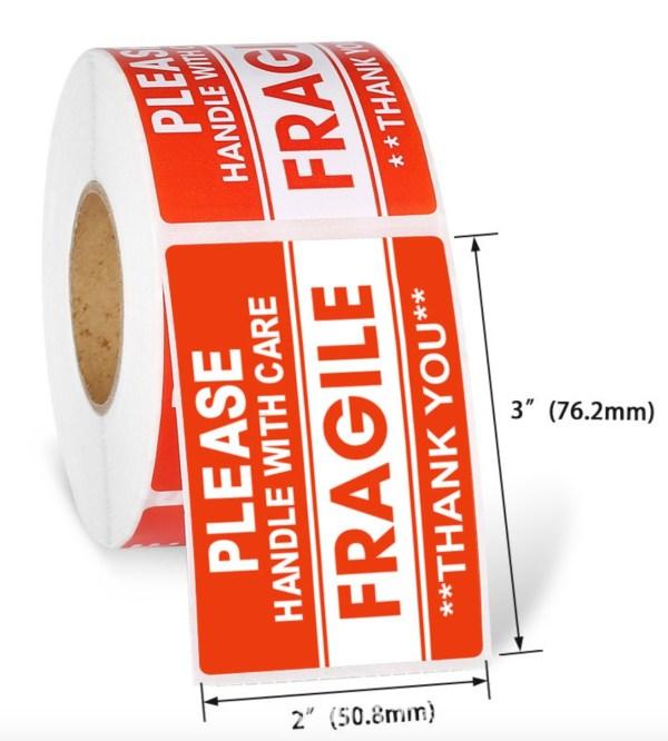 Fragile Sticker 3x2