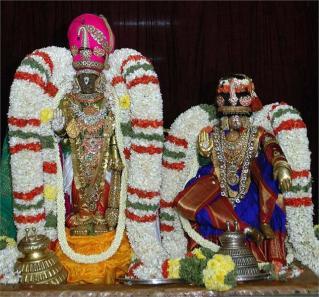 Parthasarathy with his consort Rukmini