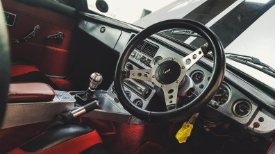 The red and silver interior.