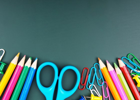 Color pencils, paper clips, and scissors