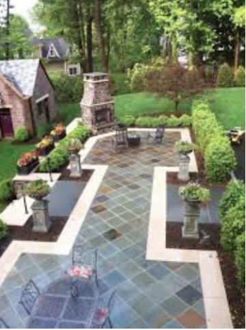 backyard stone patio design ideas 9 Inspiring Slate Patio Design Ideas