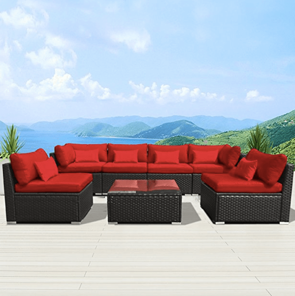 Modenzi 7G U Outdoor Sectional Patio Furniture Wicker Sofa Set Review