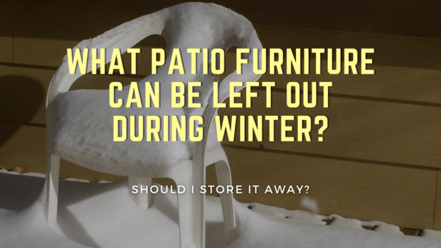patio furniture left outside in the snow during winter season