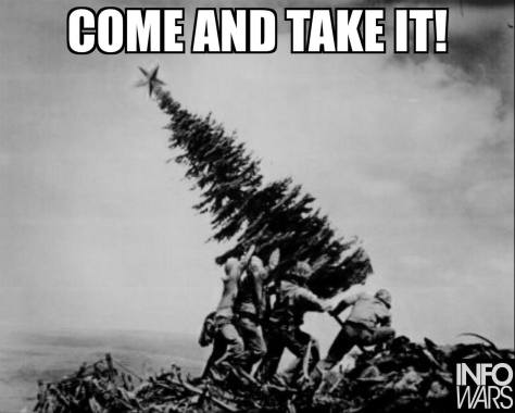 Infowars christmas meme photo winner 2015, which is a take off on the famous picture of marines raising the flag at Iwo Jima, but in this case the flag is replaced by a christmas tree