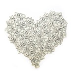 Heart of banknote denominations of 100 dollars. Background with money american hundred dollar bills.