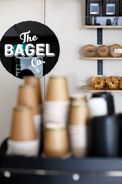 Interior shot of The Bagel Co. cafe in Surry Hills, Sydney's inner-city.