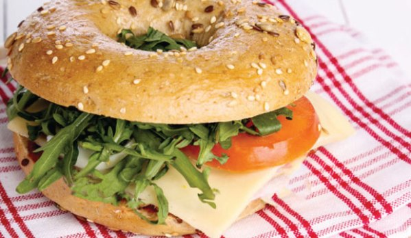 Cheese and tomato bagel from The Bagel Co cafe in Rose Bay