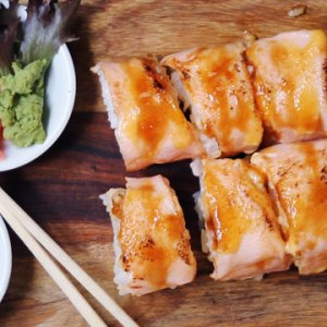 Seared Salmon Sushi available online and instore at The Bagel Co Rose Bay