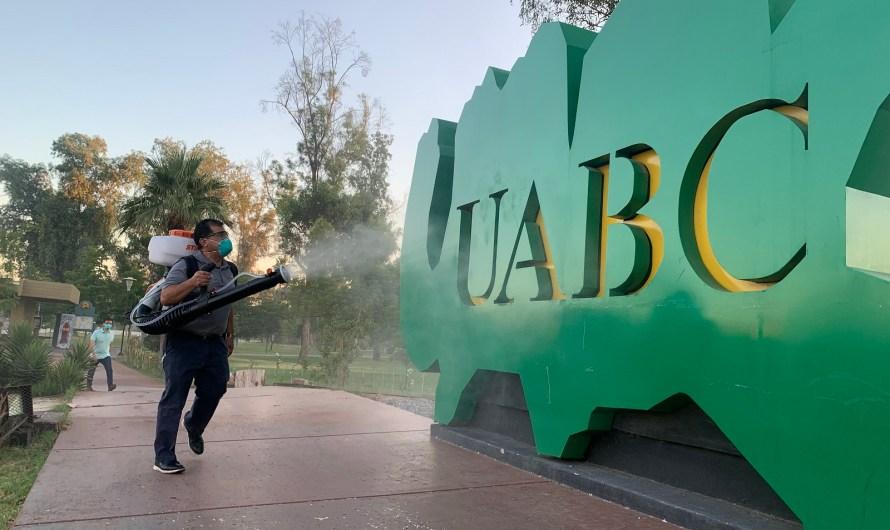 Desifectan Unidad Universitaria Mexicali I de UABC con 100 litros del sanitizante Cimarrón, hecho por universitarios