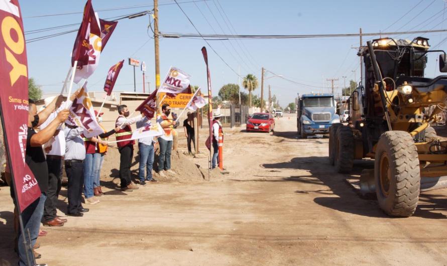 Realiza Ayuntamiento de Mexicali trabajos de pavimentación en tres vialidades de Cd. Guadalupe Victoria