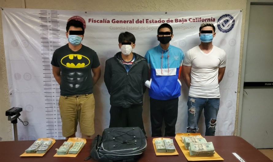 Four men detained in Mexicali by GESI agents, in a BMW with Arizona plates, in possession of 40K dollars