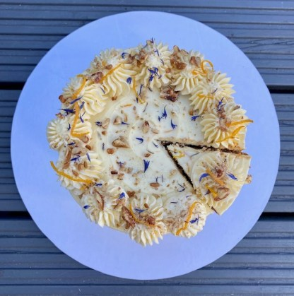A carrot and Pecan cake taken from above