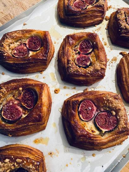 A selection of whipped goats cheese & fig danishes