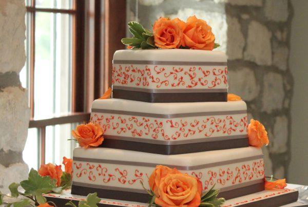 Wedding Cake with Orange Roses
