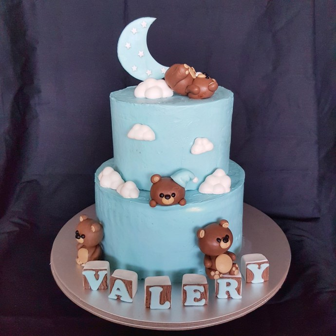 Two tier teddy bear cake