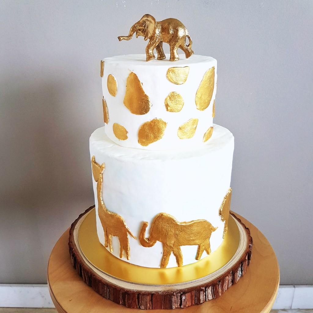 Golden Safari Fondant Two Tier Cake by The Baking Experiment