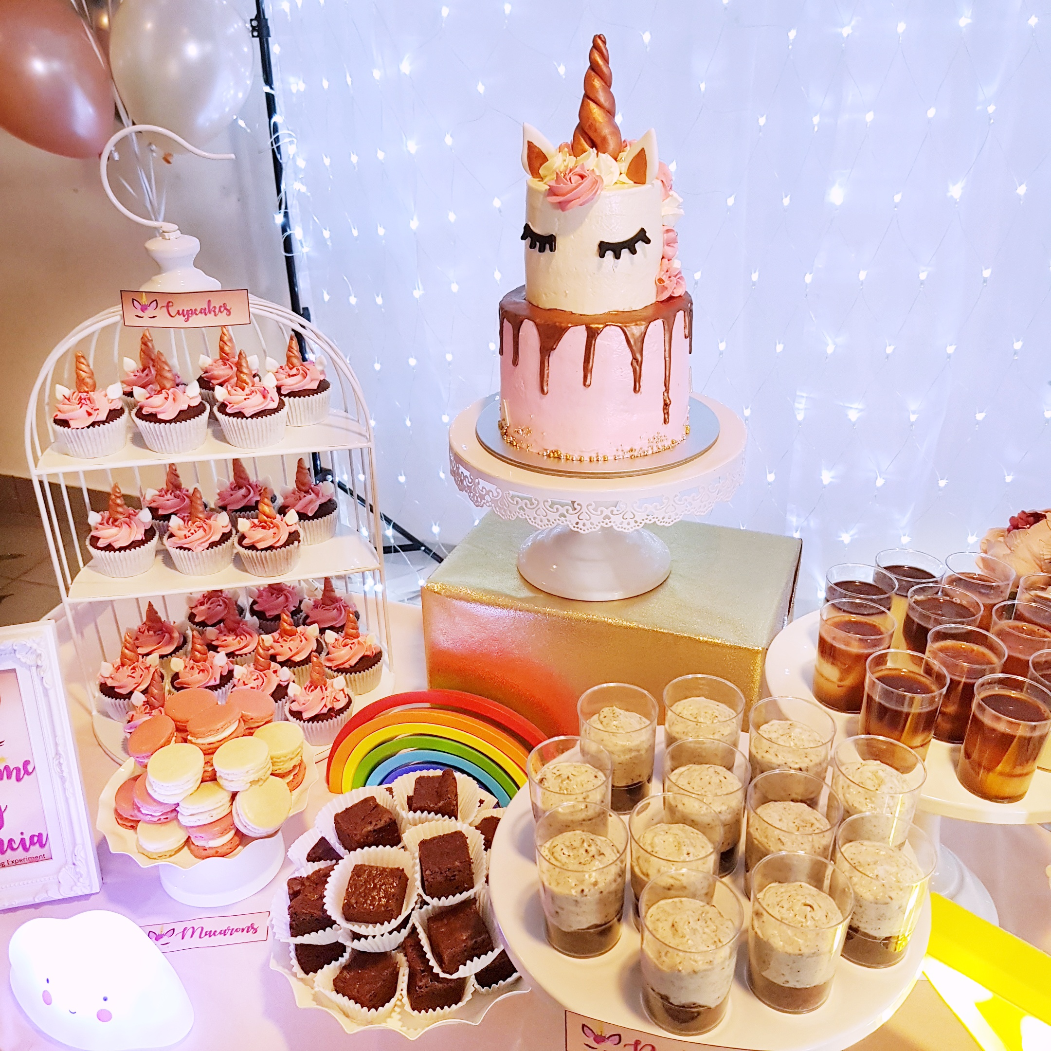 Rose Gold Unicorn Dessert Table by The Baking Experiment