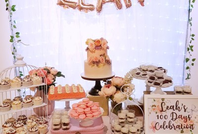 Pastel Pink Baby 100 days Dessert Table