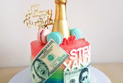Champagne bottle and money cake