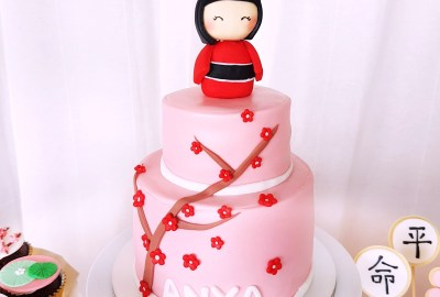 Japanese Kokeshi Doll and Sakura Cake by The Baking Experiment