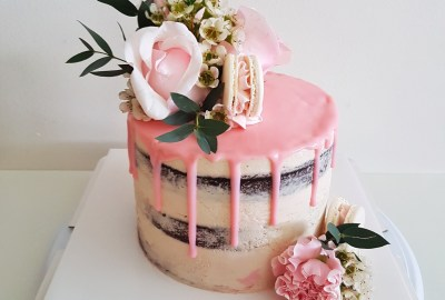 Pastel Floral Drip Cake