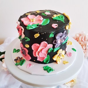 Painted Buttercream Floral Cake