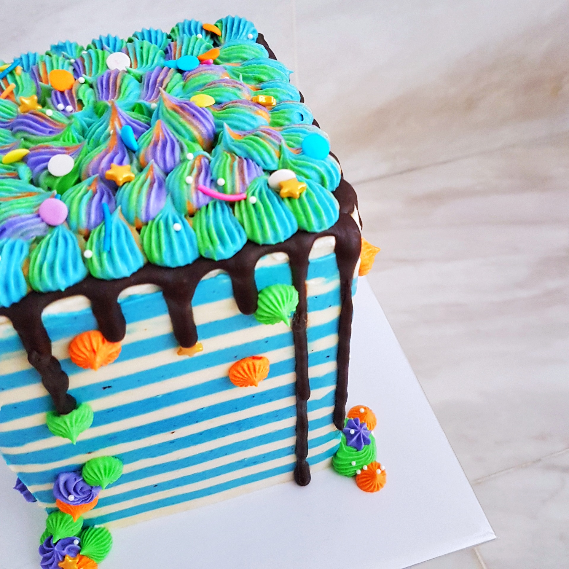 Striped Square Cube Cake by The Baking Experiment