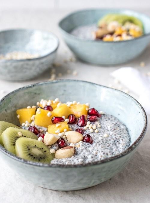 Chia Pudding Dessert Bowls with Mango, Pomegranate & Kiwi