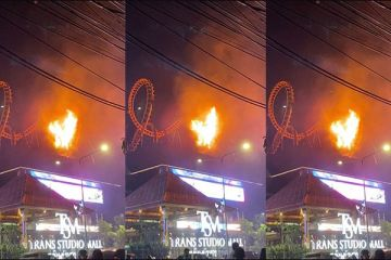 Trans Studio Mall Roller Coaster Catches Fire