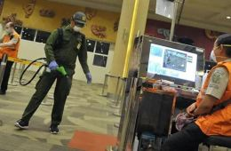 Coronavirus Prevention Bali Airport Disinfected