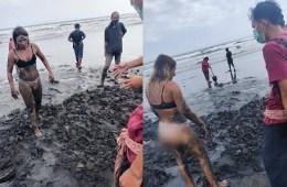 Bali Tourist Caught on Closed Beach In Tabanan