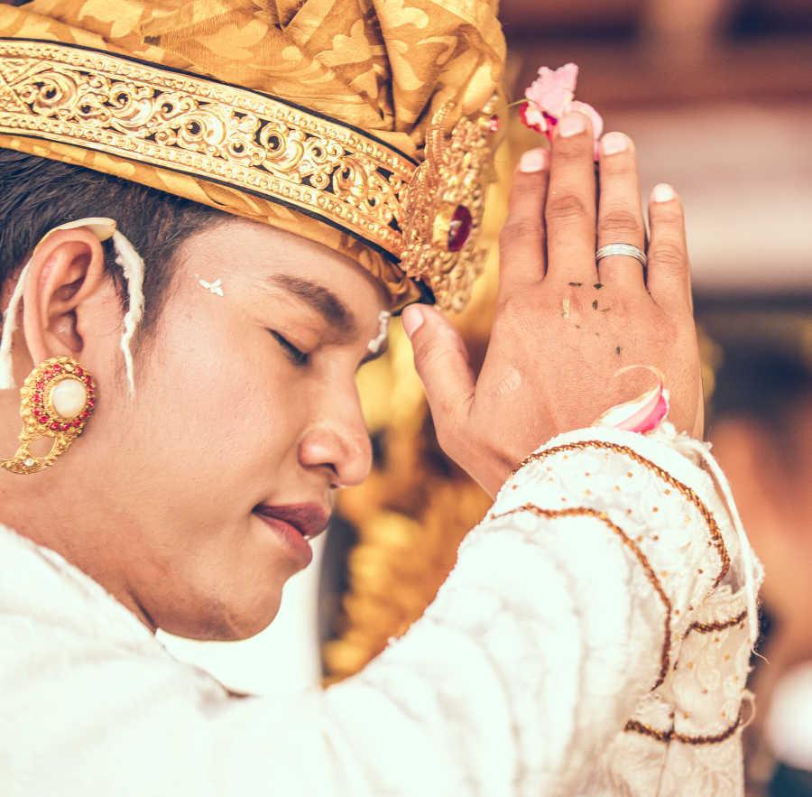 Bali local praying