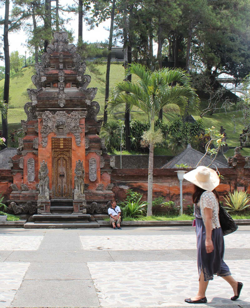 Tourist at temple in bali