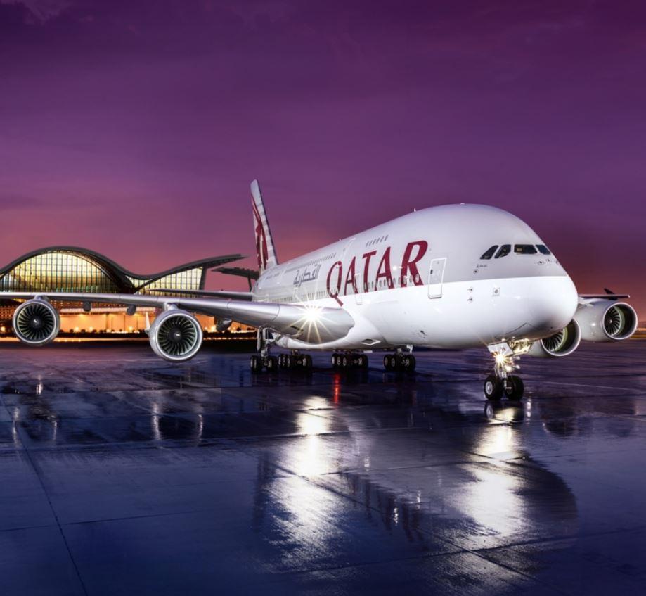 Qatar airways at hangar