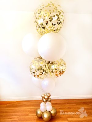 Gold and White Confetti Balloon Bouquet