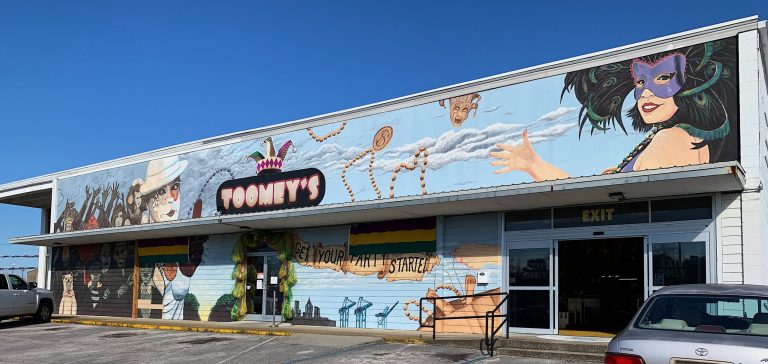 Photo of mural outside Toomey's Mardi Gras