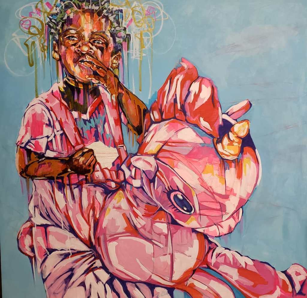 Child On Rocking Horse Painted In Pink