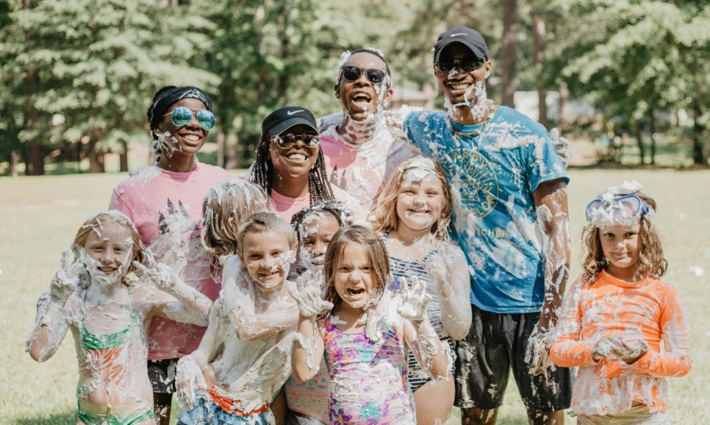 Counselors And Campers Laugh After A Shaving Cream Fight At Camp Fletcher. Photo Courtesy Of Camp Fletcher.