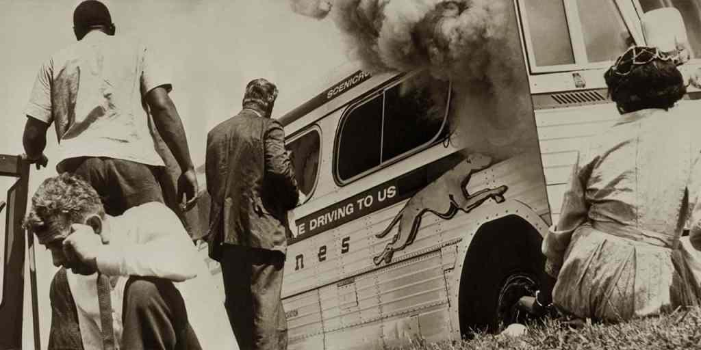 Freedom Riders Near Burning Bus Anniston Al Crt Alabama Civil Rights Trail, Alabama Civil Rights Trail Podcast, Civil Rights Movement In Alabama, Us Civil Rights Trail