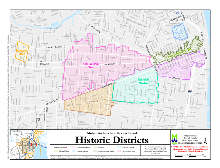 Historic Districts Of Mobile Map