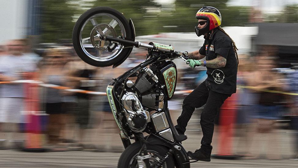 Cool Biker Showing Off Skills.