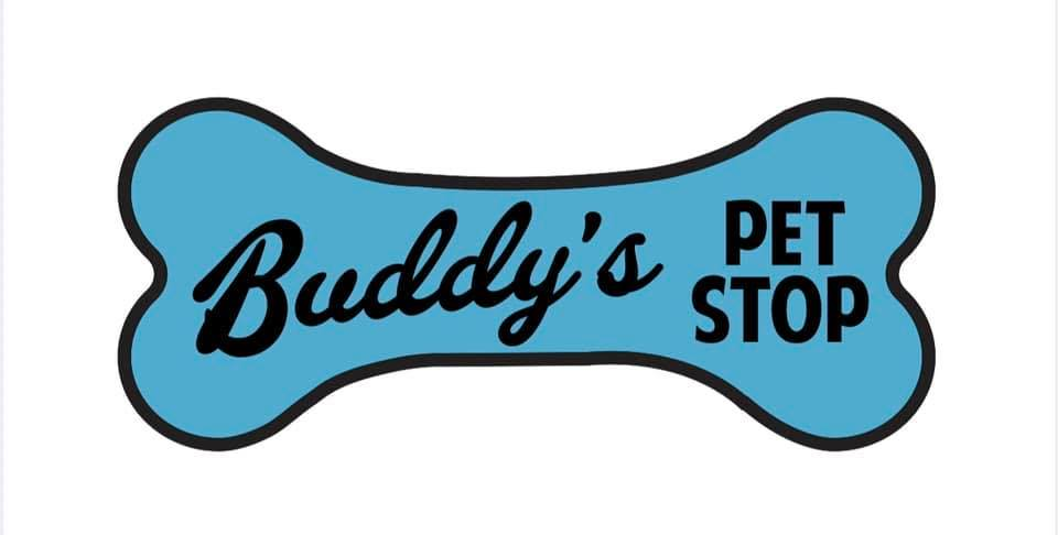 A Blue Dog Bone Reads &Quot;Budy'S Pet Stop&Quot; In Black Font