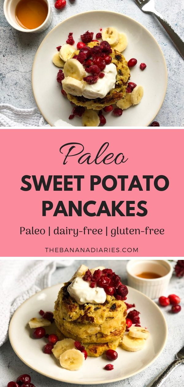 Sweet Potato Paleo Pancakes | This easy recipe for sweet potato pancakes requires just a few whole food ingredients. They're Paleo and gluten-free, and perfect for a healthy breakfast or brunch. Enjoy! | The Banana Diaries #thebananadiaries #paleo #glutenfree #pancakes #healthybreakfast #healthybrunch #pancakesrecipe