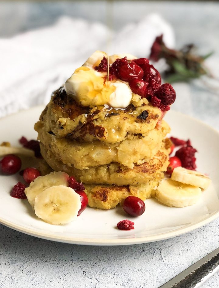 Fluffy and sweet paleo pancakes made with my favorite sweet potato and are completely flourless! They make for the perfect weekend breakfast!