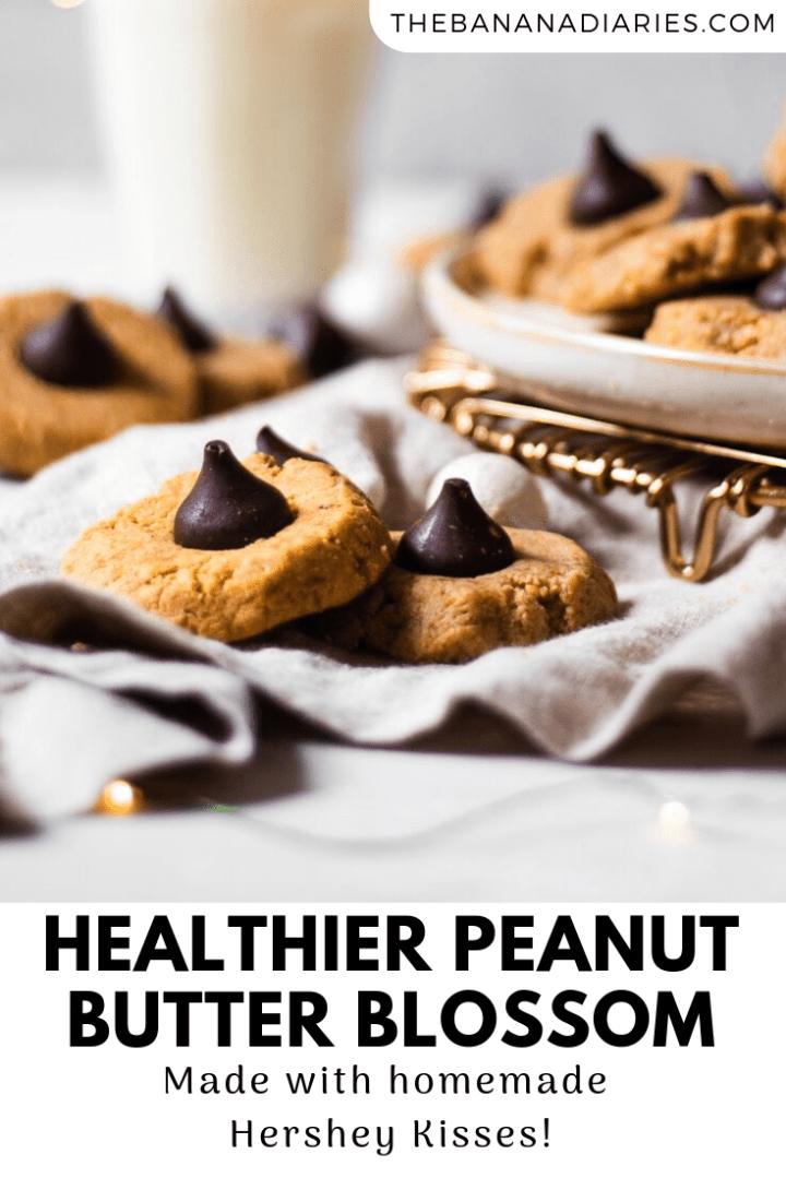 pinterest pin for gluten free peanut butter blossoms