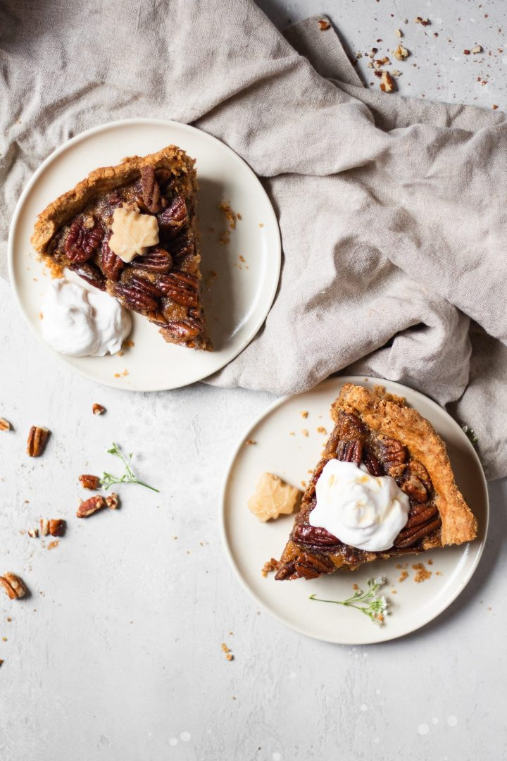 two slices of pecan pie